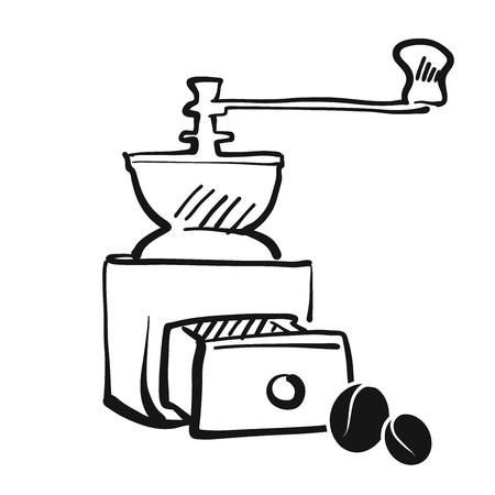 coffee grinder: Coffee grinder hand drawing Vector Artwork