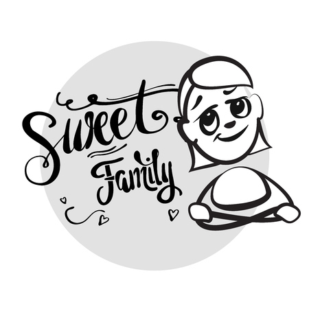 shreds: Stick figure series emotions - Sweet family, Hand drawn Vector Artwork