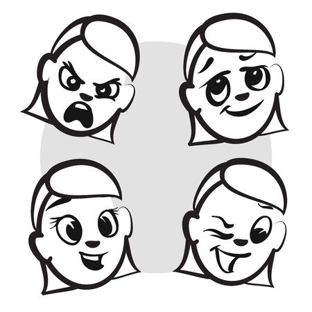 grown with love: Stick figure series emotions - Four faces, Hand drawn Vector Artwork