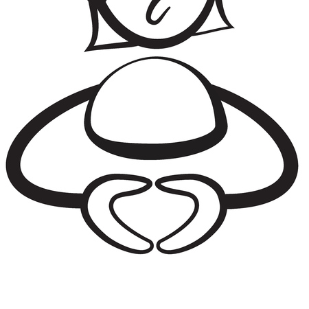 shreds: Stick figure series emotions - Merkel hands, Hand drawn Vector Artwork Illustration