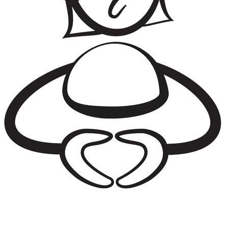 Stick figure series emotions - Merkel hands, Hand drawn Vector Artwork Illustration