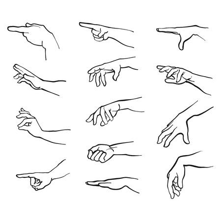 Handen gebaren met de arm, hand getrokken Vector Artwork