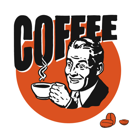 man: Man with coffee cup, coffee lettering, Hand drawn Vector Artwork Illustration