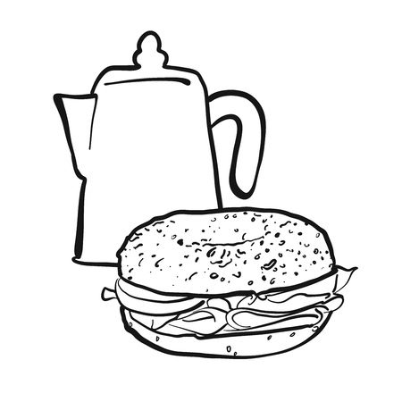 Coffee pot and bagel, Hand drawn Vector Artwork Illustration