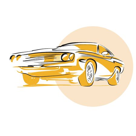 lay down: Muscle Car, Hand drawn Vector Artwork