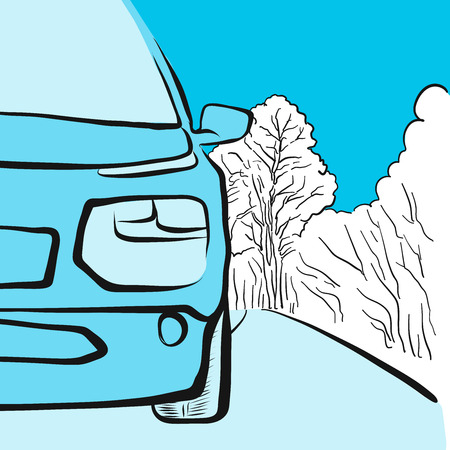 Car in winter on smooth road, illustration, hand drawn Vector Artwork