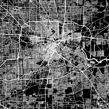 Houston Vector Map, Artprint. Black Landmass, White Water and Roads. Ilustração