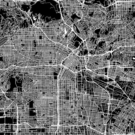Los Angeles Vector Map, Artprint. Black Landmass, White Water and Roads.
