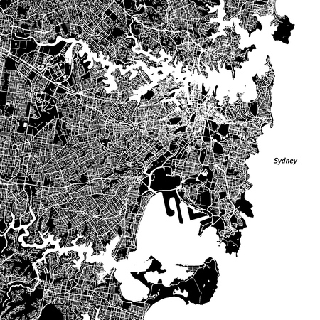 Sydney Vector Map, Artprint. Black Landmass, White Water and Roads. Ilustrace