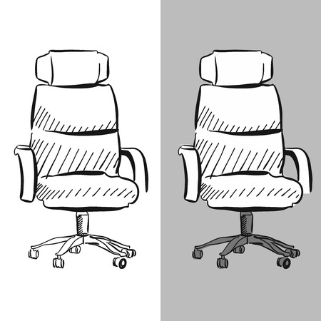leather armchair: Office chair chair vector sketch, hand-drawn vector clipart