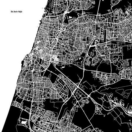 Tel Aviv-Yafo Vector Map, Artprint. Black Landmass, White Water and Roads. Vektoros illusztráció