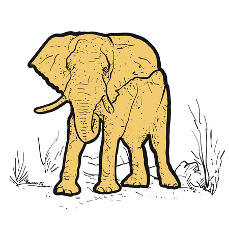 threatened: Elephant Outline dots colored yellow, Hand-drawn Vector Clipart Illustration