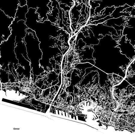 Genoa Vector Map, Artprint. Black Landmass, White Water and Roads.