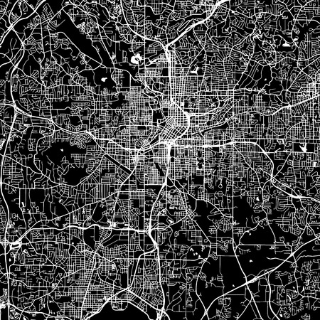 Atlanta Vector Map, Artprint. Black Landmass, White Water and Roads.