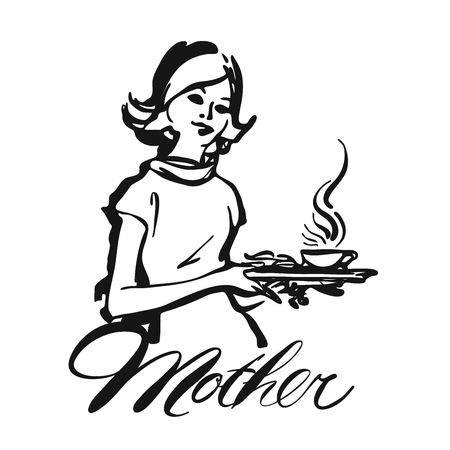 Mother Waitress serving coffee, Vintage Vector Black Icon Clipart Illustration