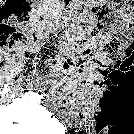 Athens Vector Map, Artprint. Black Landmass, White Water and Roads.
