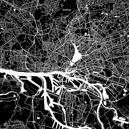 Hamburg Vector Map, Artprint. Black Landmass, White Water and Roads.