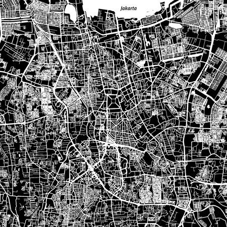 Jakarta Vector Map, Artprint. Black Landmass, White Water and Roads.