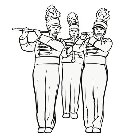 Historical marching band with quiver flutes, vector sketch, hand-drawn vector clipart Illustration