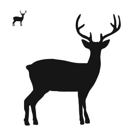 Deer logo icon side view, hand-drawn vector clipart Illustration