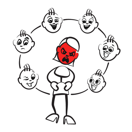 madness: Stick figure series emotions - rage, hand-drawn vector clipart