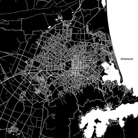Christchurch Vector Map, Artprint. Black Landmass, White Water and Roads. Иллюстрация