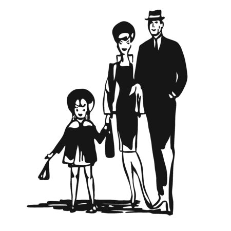 leisure time: Vintage Family walk leisure time, Vector Black and White Artprint