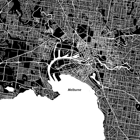 Melbourne Vector Map, Artprint. Black Landmass, White Water and Roads. Illustration