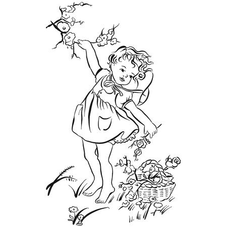 Flowers picking art print, hand-drawn vector clipart Illustration