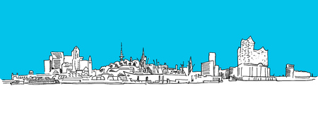 Hamburg Panorama Vector sketch, blue sky, hand-drawn vector clipart