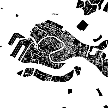 Venice Vector Map, Artprint. Black Landmass, White Water and Roads.