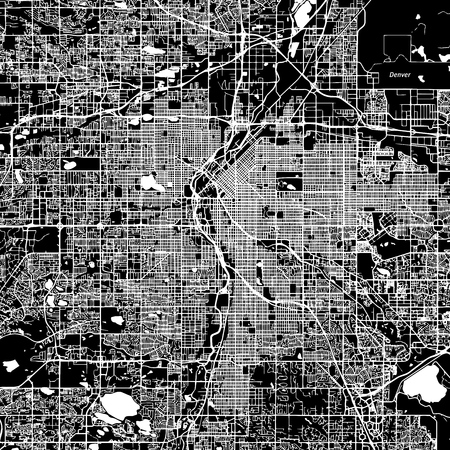 Denver Vector Map, Artprint. Black Landmass, White Water and Roads.