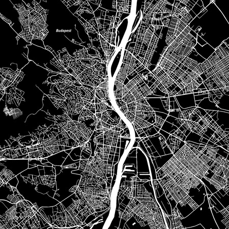 Budapest Vector Map, Artprint. Black Landmass, White Water and Roads.