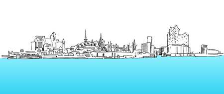 Hamburg Panorama Vector sketch, blue water, hand-drawn vector clipart