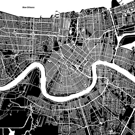 New Orleans Vector Map, Artprint. Black Landmass, White Water and Roads.