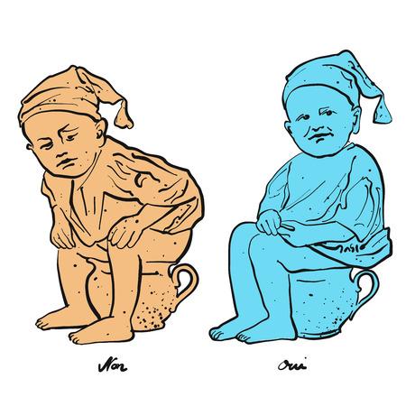 Toilettenm�nnchen - Sitting right, hand-drawn vector clipart