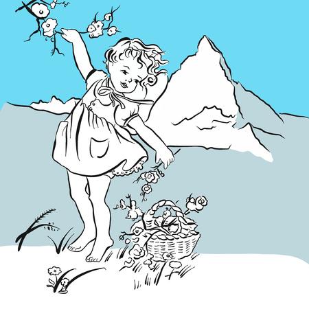 Pick flowers on the Matterhorn, hand-drawn vector clipart
