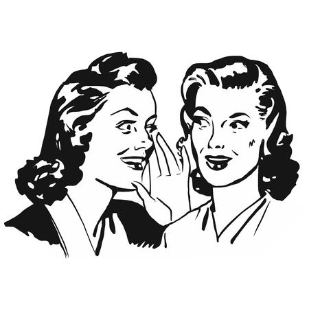 Two Vintage Girls Gossip, Vintage Vector Black Icon Artwork Illustration