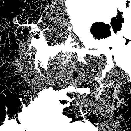 Auckland Vector Map, Artprint. Black Landmass, White Water and Roads.