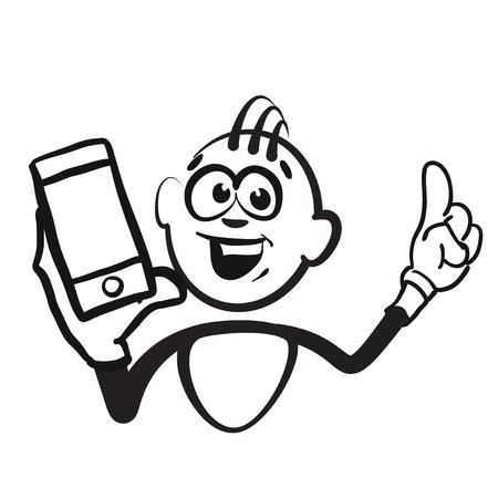 Stick figure series emotions - mobile phone portrait, hand-drawn vector clipart