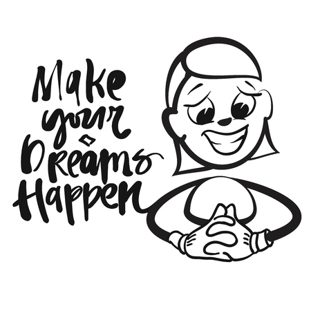 Stick figure series emotions - make dreams come true, hand-drawn vector clipart