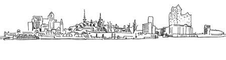 Skylinie ハンブルク港パノラマ、パノラマ ベクトル アウトライン スケッチの手描き