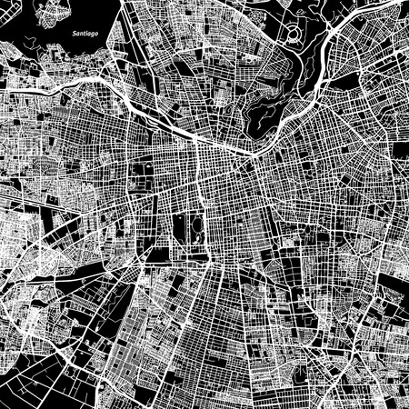 Santiago One Color Map, Vector Outline Version, ready for color change, Artprint