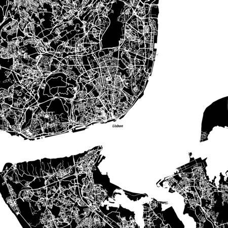 Lisbon Area Vector Map, Artprint. Black Landmass, White Water and Roads.