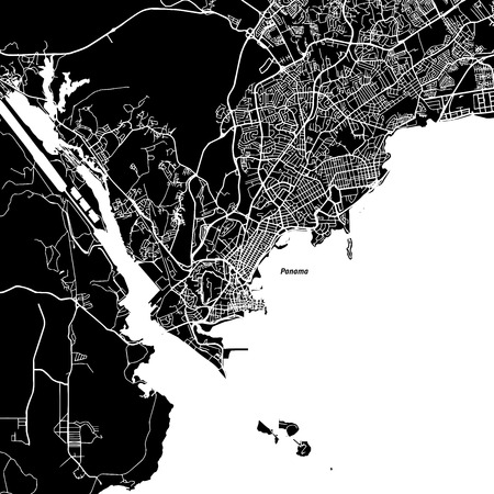 Panama City One Color Map, Vector Outline Version, ready for color change, Artprint