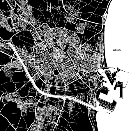 Valencia Vector Map, Artprint. Black Landmass, White Water and Roads.