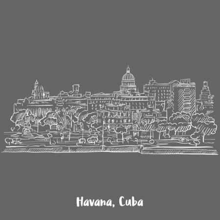 Havanna, Kuba Weiß auf Grau, Handgezeichnete Vektor-Grundriss-Skizze