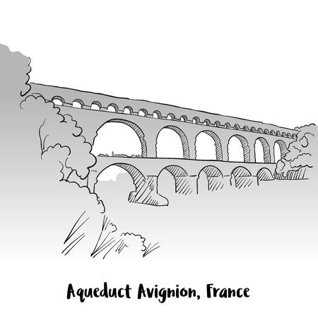 Aqueduct Avignion, France carte de voeux Design, croquis de contour vecteur dessiné à la main Vecteurs