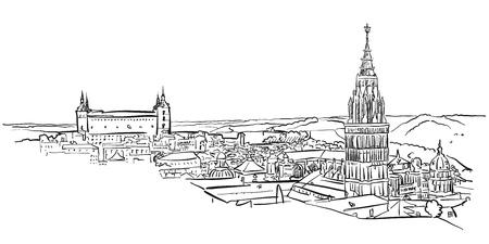 Toledo Ancient Panorama Wall Art, Handgetekende Vector Overzichtsschets