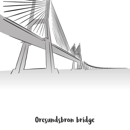 Oresundsbron Bridge Print Deisgn, Hand-drawn Vector Outline Sketch